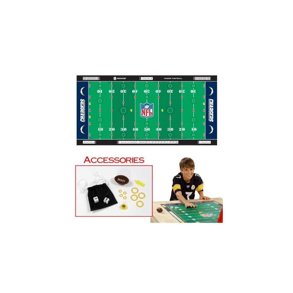 NFL Licensed Finger Football Game Mat, San Diego Chargers