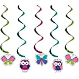 Creative Converting Owl Pal Dizzy Danglers Hanging Party Decorations, 5-Count