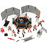 Mini Wrestling Ring Playset with Figures & Accessories