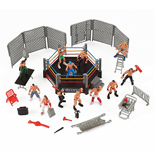 Liberty-Imports-Mini-Wrestling-Ring-Playset-with-Figures-Accessories