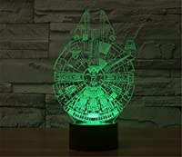 SmartEra® 3D Many Star Wars Millennium Falcon Model Night 7 Color Change USB Touch button LED Desk Table Light Lamp from SmartEra®