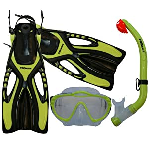 Junior Snorkeling Scuba Diving Mask Snorkel Fins w/ Mesh Bag Set for kids