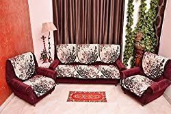 REVERSIBLE FLORAL 5 SEATER CHENILLE MAROON BLACK
