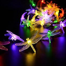 LUCKLED Solar String Lights, 16ft 20LED Dragonfly Fairy...