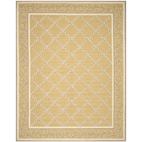 Safavieh Chelsea Collection HK230Y Hand-Hooked Yellow and Grey Wool Area Rug, 8 feet 9 inches by 11 feet 9 inches (8'9
