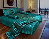 Rangsthali Home Décor Satin Gold printed Double Bed Bedding Wedding set ( Set of 8 pcs) 1 Double bed Bedsheet:: 2 Pillow cover:: 1 Double Bed AC comforter:: 2 Filled Cushions:: 2 Filled Bolsters