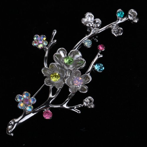 Yazilind Vintage Branch Flower Leaves Colorful Crystal Gold Plated Brooches and Pins for Wedding Bouquet 3
