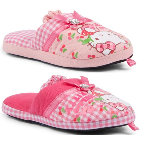 New Kids Girls Official Hello Kitty Pink Slippers Mules Bow Diamante Cherries