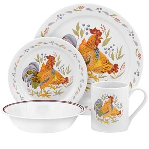 Corelle Impressions 16-Piece Stoneware Mugs, Country Morn (Chicken Dinnerware compare prices)
