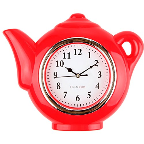 Red Teapot Kitchen Clock
