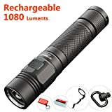 Best Cree XPL LED EDC Flashlight 1080 Lumen: JETBeam KO-01 USB Rechargeable 18650 Torch Light With Strobe, Classic Cool Army-Gray Color, Waterproof, Strong and Compact, With Attachment Ring and Clip