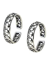 Sterling silver toe rings women Set of 2 Open hoops closure