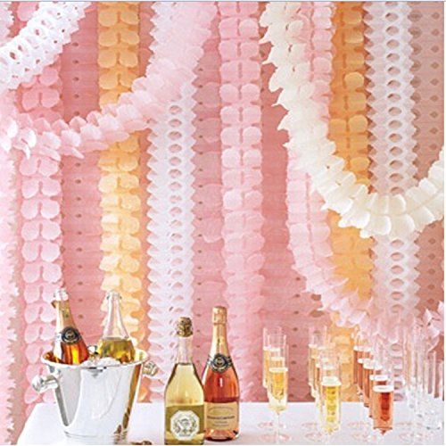 6pcs 10 Feet Long Pink Four Leaf Clover Garland Tissue Paper