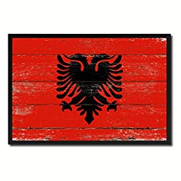 Albania National Shabby Chic Flag Art Canvas Print Wall Home Décor Interior Design Souvenir Gift Ideas