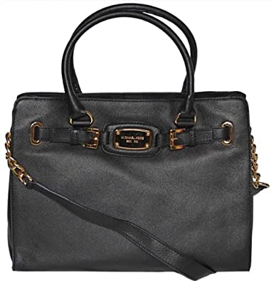 michael kors black leather hamilton large ew tote handbag. Black Bedroom Furniture Sets. Home Design Ideas