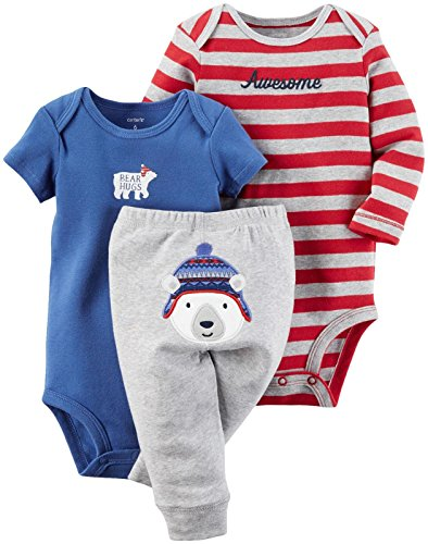 Carter's Baby Boys 3 Pc Back Art 126g422, Heather, 18M