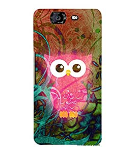 Pink Ullu Owl 3D Hard Polycarbonate Designer Back Case Cover for Micromax Canvas Knight A350
