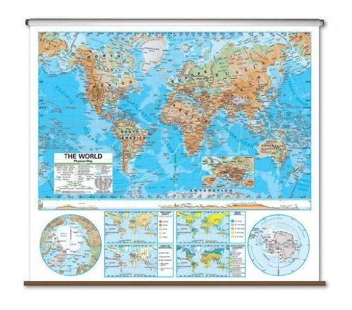 Advanced Physical Map - World Backing: With Backboard (Topographical World Map compare prices)