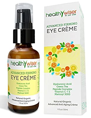 Best Cheap Deal for Advanced Firming Eye Cream, Natural and Organic Anti Aging Eye Cream for Wrinkles, Under Eye Treatment, Dark Circles and Puffiness, Contains Matrixyl 3000, Hyaluronic Acid, Peptides And Green Tea from HealthyWiser - Free 2 Day Shipping