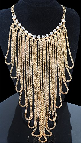 Girl Era Womens Mutil Bling Long Tassels Crystal Chain Necklace Weeding Party(g)