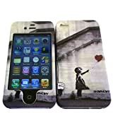 Designer Iphone 4 4S Banksy Grafitti art Ballon Girl Love heart Full case Cover Front&Back
