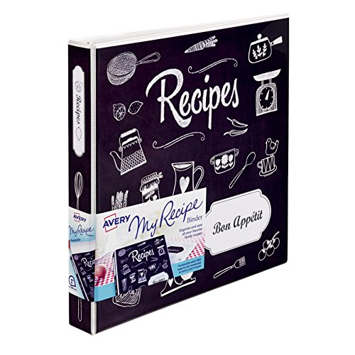 Avery My Recipe Binder, Extra Wide 1-Inch Slant Ring, Chalkboard Design (19801) (Recipe Board compare prices)