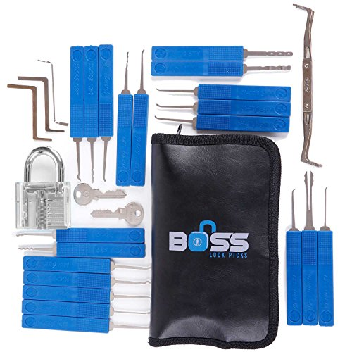 29 Piece Lock Pick Set with Clear Practice Lock and Lock Picking Ebook - Includes Stainless Steel Locksmith Picks, See