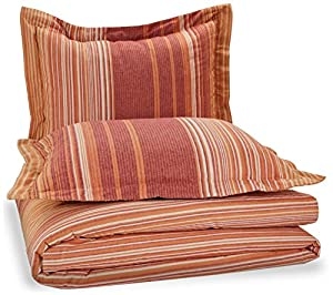 Pinzon Lightweight Cotton Flannel Duvet Set - Full/Queen, Orange Stripe