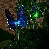 1-LED Colorful Light LED Solar Light Fibre Optic Butterfly Stake Lights (2 pcs)