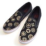 (リュウズ)竜図 和柄スリッポン 家紋 和風 靴 スニーカー シューズ ブラック 28.0cm