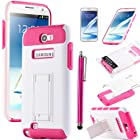 Note 2 Case, Galaxy Note 2 Case - ULAK Hybrid High IMPACT Stand Case For Samsung Galaxy Note 2 N7100 with Screen Protector and Touch Stylus (Hot Pink+White)