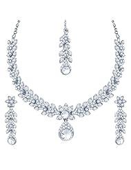 Sukkhi Resplendent Rhodium Plated Australian Diamond Stone Studded Necklace Set