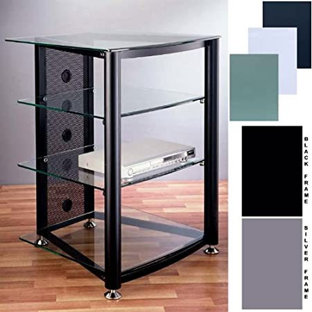VTI Audio Video Rack with Glass Shelves (Various Finishes) RGR404S, RGR404B