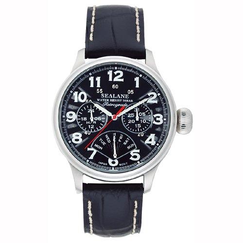 [シーレーン]SEALANE 腕時計 デザインウォッチ 20BAR レトログラード 牛本革 N夜光 SE31-LBK メンズ