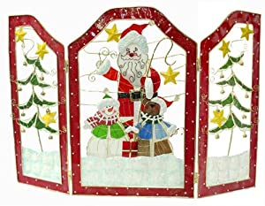 30 Santa Snowman Stained Glass Inspired Christmas Fireplace Screen 4057545