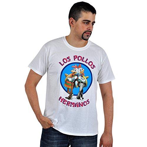Trademark Products Men's Breaking Bad Los Pollos Hermanos - Maglietta, Manica corta, Uomo, bianco, L