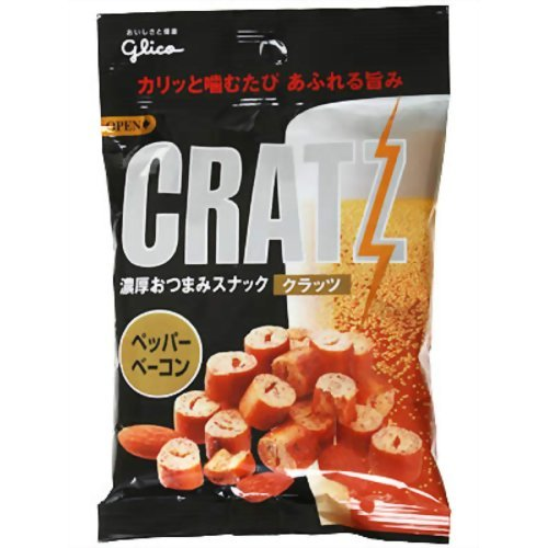 Black Pepper & Bacon Flavored Pretzel Snack - Cratz - By Glico From Japan 44g by Glico