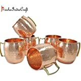 Prisha India Craft ® (Set Of 6) Moscow Mule Solid Copper Mug 550 ML / 18 Oz - Set Of 6 - 100% Pure Copper Hammered...