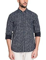 Zovi Men's Cotton Slim Fit Casual Blue Shirt With Paisley Prints (11948200801)