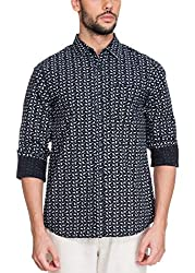 Zovi Cotton Slim Fit Casual Blue Shirt with Paisley Prints(11948200801_Small)