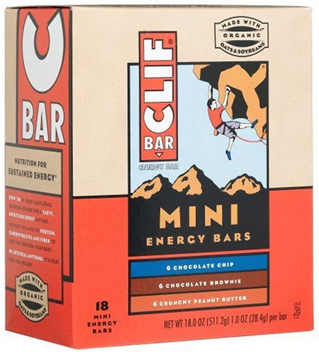 Clif Bar Mini Energy Bar, Variety Pack (Chocolate Chip, Chocolate Brownie and Crunchy Peanut Butter), 1-Ounce Bars 18 Count ( Pack of 2 )