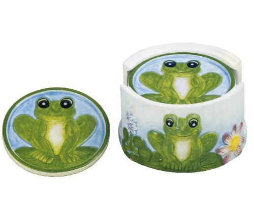 FROG 6 Piece Coaster Set w/ Coaster Holder *NEW*!