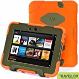 "Kindle Fire Hd 7"" Cover Case New Hot Item High Quality Slim Fit Silicone Plastic Dual Protective Back Cover Standing Case Kid Proof Case for Amazon Kindle Fire Hd 7 Inch(will Only Fit Kindle Fire Hd 7""previous Generation )-Multiple Color Options (Orange/Olive)"