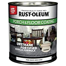 Rust-Oleum 244857 Porch Floor Paint, Pure White Semi-Gloss, 1-Quart