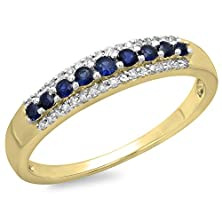 buy 10K Yellow Gold Round Blue Sapphire & White Diamond Ladies Anniversary Wedding Stackable Ring (Size 8.5)