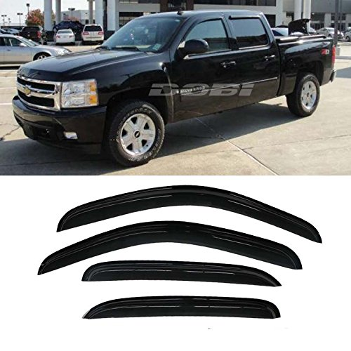 Mifeier Sun/Rain Guard Vent Shade Window Visors Wind Deflector For 2007-2013 Chevy GMC 1500/2500 Crew Cab Pickup/SUV Wind Deflector 4pc (Vent Visors Chevy compare prices)