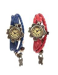 Felizo Combo Offer - Pack Of 2 Multi Strap Blue & Red Fancy Butterfly Bracelet Vintage Watch