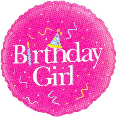 """Birthday Girl"" Pink Streamers Hat 18"" Balloon Mylar - 1"