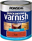 Ronseal QDVST750 750ml Quick Dry Varnish Coloured Satin - Teak