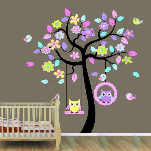 wallstickers-decal-decalcomania-da-parete-raffigurante-un-albero-con-gufetti-in-altalena-dimensione-